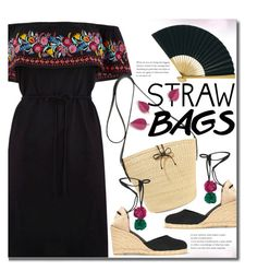 """Carry On: Straw Bags"" by beebeely-look ❤ liked on Polyvore featuring Oasis, Sensi Studio, Castañer, Cultural Intrigue, Summer, blackdress, strawbags and polyvorecontest"