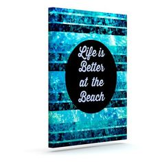 "East Urban Home 'Life is Better at the Beach' Textual Art on Canvas Size: 30"" H x 24"" W x 2"" D"