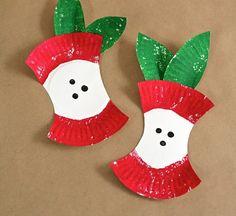 Basteln mit Papptellern - Apfelgribsch mit Acrylfarben