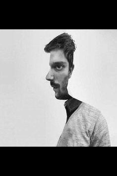 Optical Illusion. Zie je de 2 mannen?