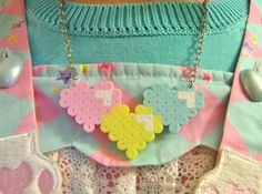 """HEART TRIO NECKLACE // Nickel Free 16-18"""" Necklace Chain // Kawaii Sweet Lolita Pastel or Valentine's Red and Pink // Perler Hama Beads"""
