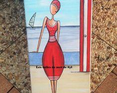 La baigneuse Peinture acrylique Tableau Bord de mer Plage Cabine Rouge maillot Bain Bonnet Mer Vintage Dinard