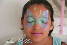 Butterfly #facepaint mask idea for girls by Nurit Pilchin #facepaint #facepaintingschool