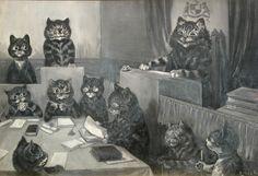 Louis Wain :'Cat Burgular' c.1900 ink and grisalle