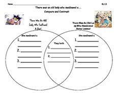 The page can be used during the fall to compare and contrast the two stories:  There Was an Old Lady Who Swallowed a Bat and There Was an Old Lady Who Swallowed Some Leaves.  The page correlates with the CCSS RL.1.9 for first grade.  I provided lines in the venn diagram to help guide the students as they write.