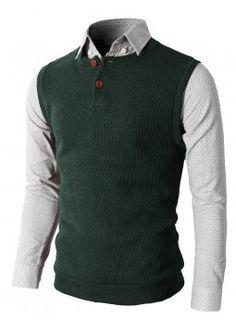 Doublju Men's Knitted Sweater Vest With Two Button On The Neckline (KMOV025).    #vests #mencloth #menclothing #doublju