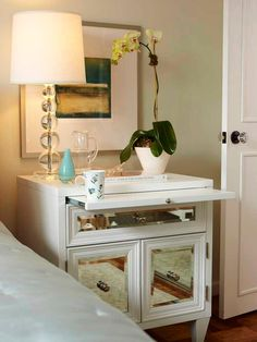 mirrored nightstand Turquoise tiles at Francois Gilles Moroccan home DIY design chevron home decor Mirrored Nightstand, Mirrored Furniture, Mirrored Table, Nightstand Ideas, Dresser Desk, Nightstand Lamp, Dressers, Antique Furniture, Repurposed Furniture