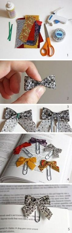 Bow bookmark tutorial. - Great use of Fabric Scraps. These are really cute, you could also make hair bows out of them