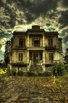 Love the sky; the neglected derelict house breaks my heart - such beautiful architecture wasted