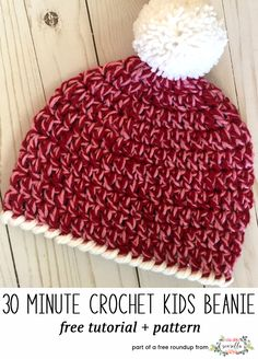 Crochet this easy 30 minute kids beanie hat from Heart Hook Home from my quick crochet gifts to make in under 1 hour free pattern roundup!