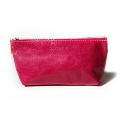 """Kosmetiktasche """"Bootsy Crunch Fuchsia"""" von #Cellarrich - 19,5 x 9 x 5 cm - Leder"""