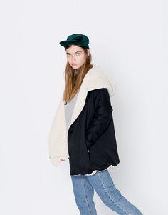 Reversible faux fur jacket - Coats and jackets - Clothing - Woman - PULL&BEAR United Kingdom