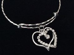 Double Heart Twisted Silver Expandable Charm Bracelet Silver Plated Bangle Bracelet
