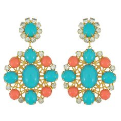 Vintage Kenneth Jay Lane Coral Turquoise Earrings | SOPHIE'S CLOSET®