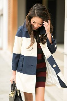 Stripes :: Shift dress & Color block coat women's fashion and street style.women's fashion and street style. Looks Style, My Style, Style Bold, Wendy's Lookbook, Look Formal, Diy Vetement, Estilo Fashion, Style Casual, Inspiration Mode