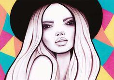Emma  #art #colourful #blackhat #etsy