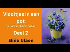 Viooltjes in een pot, Deel 2.  Jenkins Techniek door Eline Ulaen. Gary Jenkins, Painting Workshop, Paint Background, Bob Ross, Painting Tutorials, Learn To Paint, Oil, Make It Yourself, Violets