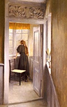 """Looking Out The Window. Peter Ilsted. (1861-1933) """