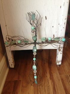 LL Turquoise Beaded Wire Wall Cross