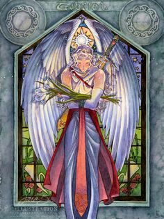 Angel Art Print Limited Edition - Archangel Gabriel Calla Lilies and Stained Glass Guardian Angel