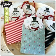 Mini Snowman Envelopes and Tags by Audrey Pettit.
