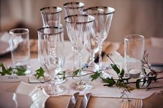 Shannon Leahy Events - San Francisco Wedding - James Leary Flood Mansion - Table Setting - Wine Glasses - Garland