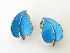 Vintage Blue enamel leaf earrings by Hans by VintageJewelryonEtsy
