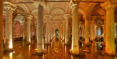 """The Basilica Cistern, Istanbul, Turkey. """"Yerebatan Sarayi"""", is the largest of several hundred ancient cisterns that lie beneath the city of Istanbul, By Alika"""