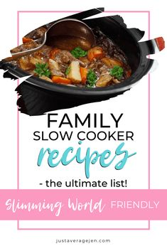Looking for Slimming World slow cooker recipes? Here are the BEST Tasty Slimming World Slow cooker recipes for you to make for the family. Slow Cooker Recipes Family, Slow Cooker Desserts, Family Meals, Crockpot Meals, Slow Cooker Slimming World, Slimming World Recipes, Easy Healthy Recipes, Whole Food Recipes, Easy Meals