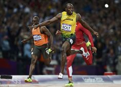 Usain Bolt tonight fulfilled his dream of becoming a 'legend' of the sport by successfully defending his Olympic title in stunning style in London. Usain Bolt Record, Olympic Records, Olympic Athletes, 100m, Track And Field, The Man, Victorious, Finals, Olympics