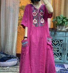 Women's Linen Summer dress, Linen kaftan, loose long dress, V collar Vintage dress