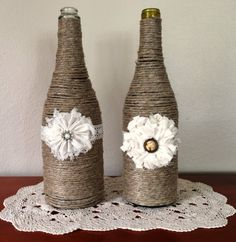 Set of 2 Twine Wrapped Bottles with Flowers on Etsy, $22.00