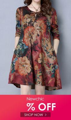 <img> Hot-sale O-Newe Vintage Women Printed O-Neck Long Sleeve Mini Dress{ – NewChic Mobile - Trendy Dresses, Women's Fashion Dresses, Plus Size Dresses, Casual Dresses, Short Dresses, Women's Dresses, Ethnic Fashion, African Fashion, Summer Dresses Online