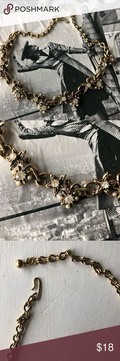 Beautiful vintage rhinestone & pearl necklace Beautiful 1960's vintage costume jewelry necklace. Sparkly clear rhinestones accented with small faux pearls. Looks gorgeous on, very well-made piece! Hook closure , ball detail at the end. vintage Jewelry Necklaces