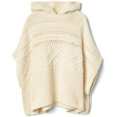 Cable-knit hoodie poncho (£14) ❤ liked on Polyvore featuring outerwear, style poncho, cable knit ponchos, cable poncho and brown poncho