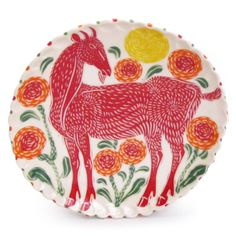 Shop: Red Goat Lunch Plate - The Clay Studio I have one very like this, only I think mine is prettier.