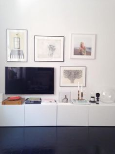 I am reconsidering a TV --could I build into a gallery wall like this with a floating shelf below? Or is the space too small?