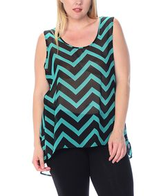 Love this Cool Melon made by Goo Yoo Jade & Black Sheer Zigzag Hi-Low Tank - Plus by Cool Melon made by Goo Yoo on #zulily! #zulilyfinds