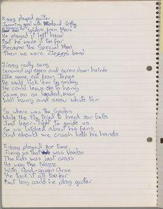 "David Bowie, original lyrics for ""Ziggy Stardust"", 1972"