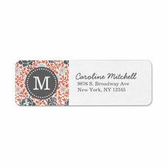 Gray & Coral Retro Floral Damask Custom Monogram Custom Return Address Label