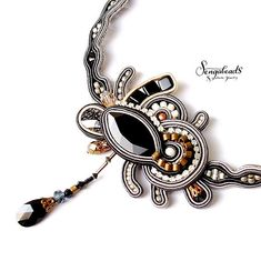 Soutache necklace. Handmade necklace. Black necklace. Statement necklace. Gif for her. Luxurious necklace. Swarovski necklace. Soutache.