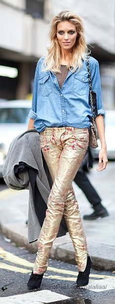 Anja Rubik..totally love this relaxed look and those pants!