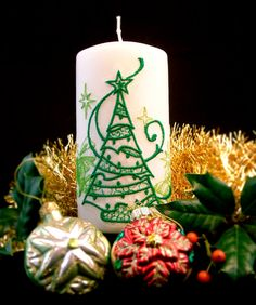 These decorative candles are unscented and designed to add a bit of holiday elegance to your home year after year. The lace is