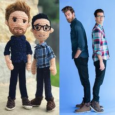 That time I made @rhettandlink @rhettmc @linklamont dolls because my kids begged me to.  #amigurumi #amiguruME #buythebook #crochet #craftyiscool #goodmythicalmorning #rhettandlink