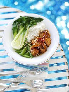Losos v teriyaki omáčce Salmon, Recipies, Good Food, Food And Drink, Veggies, Fresh, Eat, Cooking, Ethnic Recipes