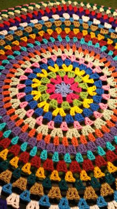 Granny Circle Crochet Spare Tire Cover by WhyNotCrafts on Etsy This is a CUSTOM - MADE TO ORDER listing. You tell me the size and color! Please include in the notes section or send me a message: Tire Size (measure the diameter or give me the size printed Crochet Rug Patterns, Crochet Mandala Pattern, Crochet Circles, Granny Square Crochet Pattern, Tunisian Crochet, Crochet Granny, Baby Blanket Crochet, Crochet Stitches, Crochet Baby