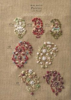 Bead Embroidery Stitch Samplers - Japanese Craft Book for Motif Pattern 123 - CRK Design, Yasuko Endo - B1119