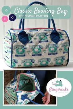 The bowling bag PDF sewing pattern creates a fun and flirty bag with a unique bowling bag shape. This is not your grandma's bag though! Use cotton, batting, interfacing and piping to create just the bag you want! The classic bowling bag pattern was created by Virginia Lindsay of gingercake patterns.