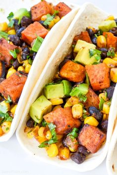 Healthy Vegan Sweet Potato Tacos filled with roasted sweet potatoes black beans corn and avocado are super delicious and perfect for Taco Tuesdays Recipe on Savory Sweet Potato Recipes, Sweet Potato Dinner, Sweet Potato Tacos, Salad With Sweet Potato, Sweet Potato Black Beans Recipe, Vegan Stuffed Sweet Potato, Sweet Potato Shrimp, Avocado, Healthy Tacos