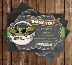 Novel Concept Designs - Star Wars - Baby Yoda - Baby Shower - Thank You Card